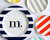 """The 11 1/4"""" Modern Monogrammed Rimmed Collection Personalized With Name and Date"""
