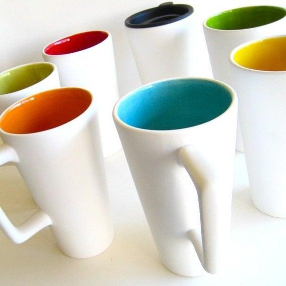 Ceramic Travel Mug Sylvie Collection Read to Ship Color- Robin's Egg Blue