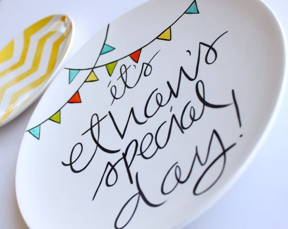 Personalized 'It's Your Special Day' Small Plate by Aedriel Originals Featuring Pennant Banners