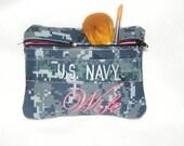 Navy Wife Zipper makeup bag/ wallet