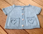 Knitting Pattern for Sweet heart Top Down Baby Cardigan heart lace