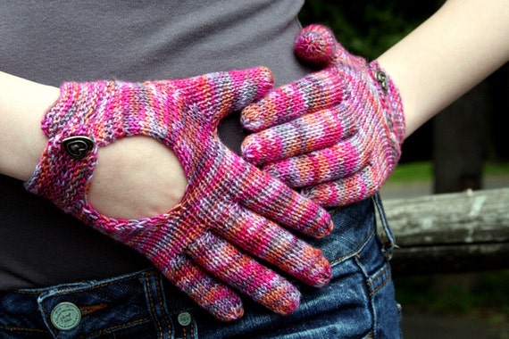Items similar to Hand Knit Pattern Driving Gloves Knitting ...