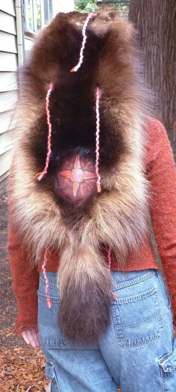 Wolverine headdress - real wolverine fur totem full skin dance costume headdress mask decorated with painted leather and braided yarn