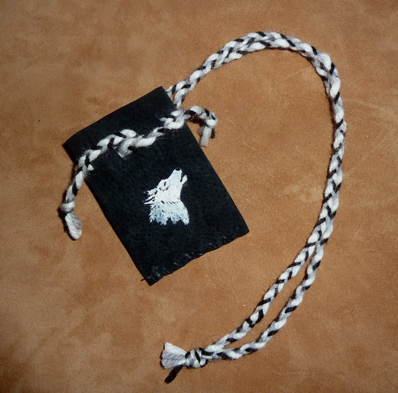 Leather pouch - recycled black leather necklace pouch with painted Arctic wolf and recycled braided yarn cords