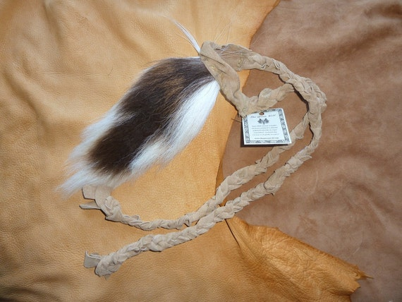 Deer tail - real eco-friendly whitetail deer totem dance tail on recycled leather belt for shamanic ritual dance DR02