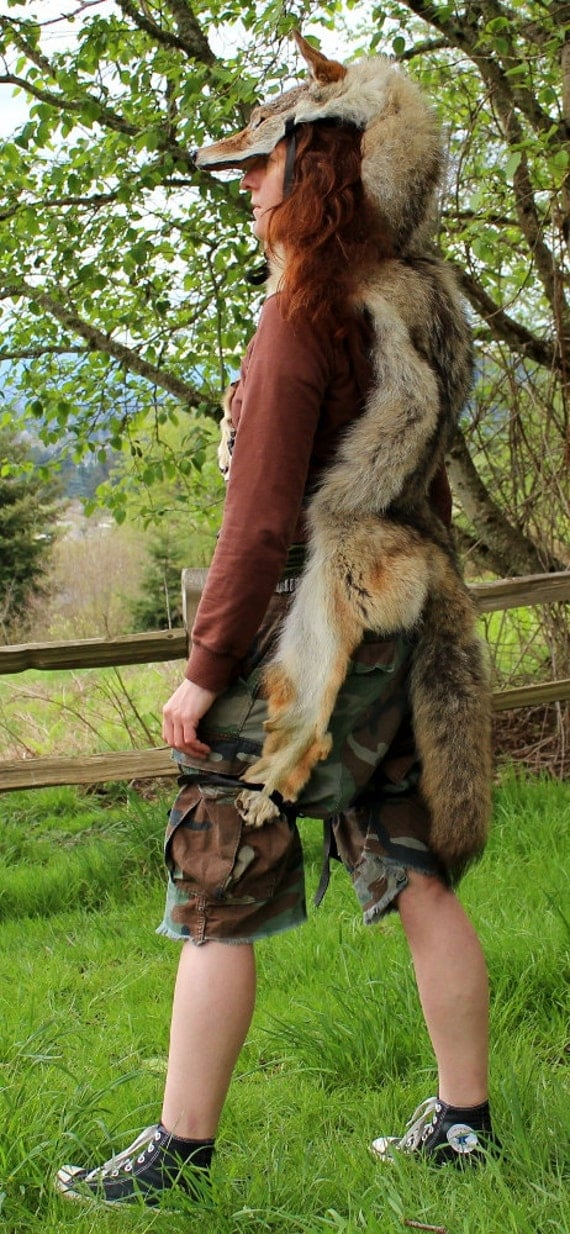 Coyote headdress - full hide coyote headdress totem dance costume with paws and claws for shamanic ritual and dance