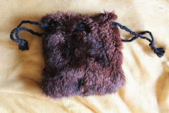 Vintage sheared beaver fur drawstring pouch bag for tarot, runes, ogam, dice and more