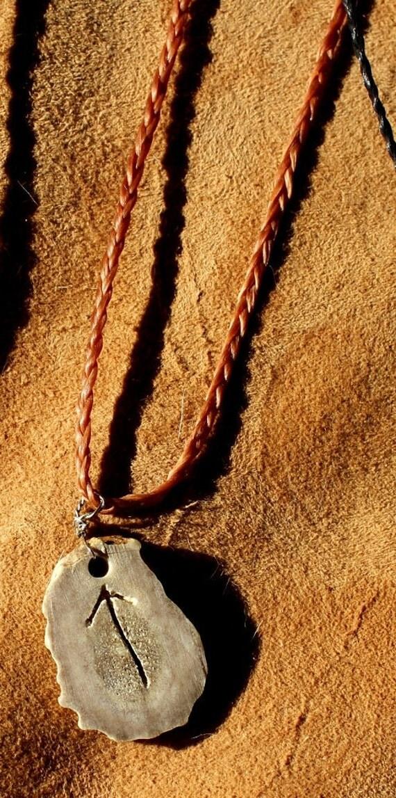 Deer antler necklace - real custom carved Tyr rune deer antler pendant on hand-braided adjustable cord