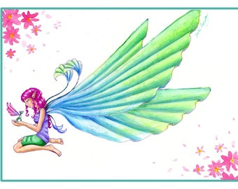 Waterwings Limited Edition fairy dragon flowers print by Julie Daelhousen 8x10