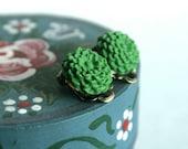 Lovely Green Dahlia - CLIP ON cabochon earrings, grass green, polymer clay, resin flower, chrysanthemum
