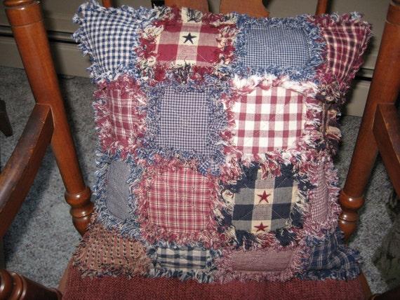 Rag Quilt Throw Pillow Patchwork Americana Homespun 16 Inch