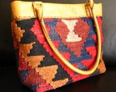 Upcycled Wool Purse Carpet Bag Leather Trim Red Blue Brown RESERVED