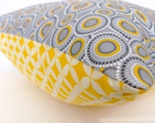 ON SALE for CIJ Decorative Throw Pillow Cover 16 x 16 - modern gray and yellow circles
