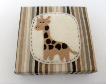 Felt Giraffe Wall or Shelf Art with Neutral Colored Stripes