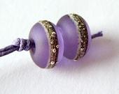 Simply Spangled Lavender Lampwork Bead Pair by keiara SRA