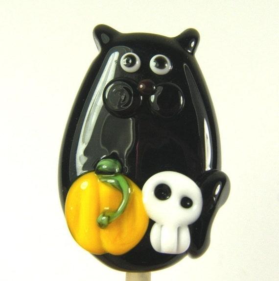 Lampwork Cat Bead Spooky Halloween Kitty Focal by keiara SRA FREE SHIPPING