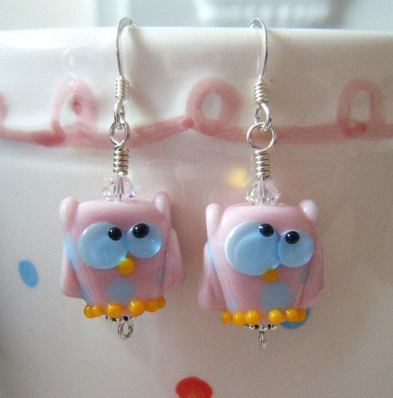 Sale Item Candy Kooky Owl Lampwork Earrings and Pendant Set by keiara SRA