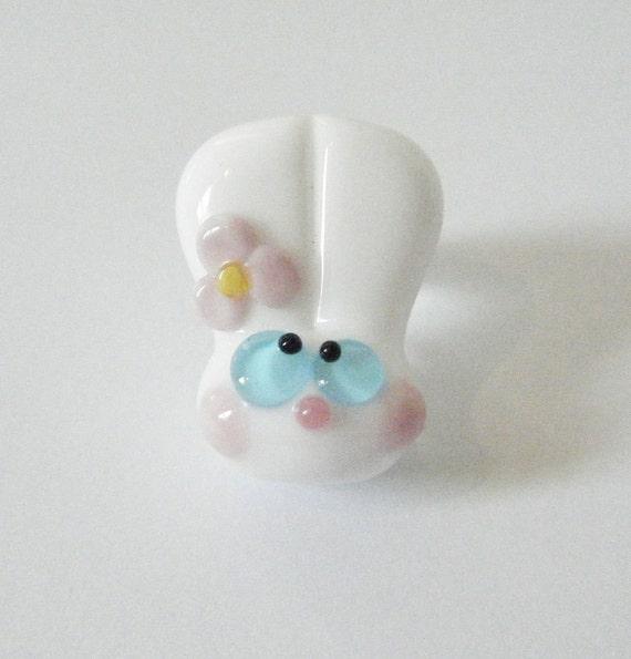 Lampwork Bunny Rabbit Bead Daisy Kooky Bunny Bobble Head by keiara SRA FREE SHIPPING