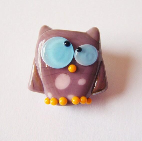 Lampwork Owl Bead Paulette Kooky Owl by keiara SRA FREE SHIPPING