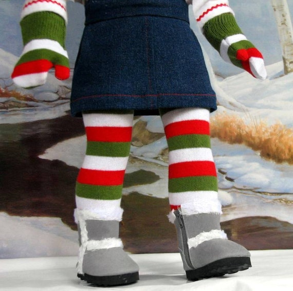 Merry Christmas Stockings and M2M Mittens American Girl doll clothes LAST SET in this color