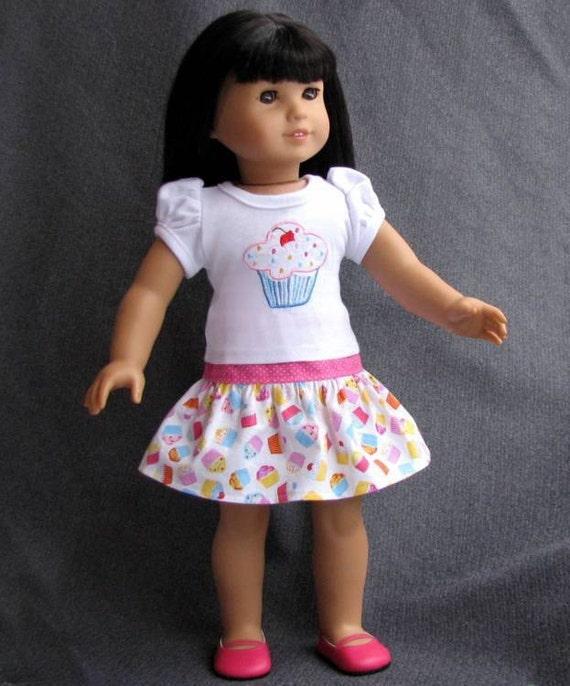 Josefina Birthday Dress: Birthday Girl American Girl Doll Clothes Cupcake Top Twirl