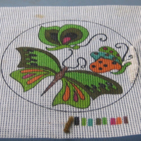 Butterflies Needlepoint Kit Vintage 1974 SALE by pandpsupplies