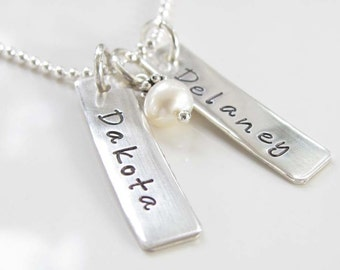 Personalized Hand Stamped Necklace - Sterling Silver - Tag Necklace - Front and Back Stamping