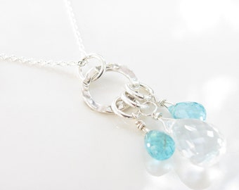 I Dream In Aqua Necklace - Sterling - Crystal Quartz and Apatite Gemstones - ready to ship