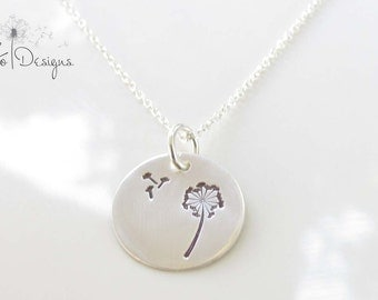Dandelion Necklace - Hand Stamped - Hand Made - Sterling Silver