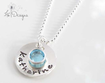 Birthstone Necklace - Silver Name Necklace - Personalized Pendant - Hand Stamped Sterling Silver - Customizable Birthstone Jewelry