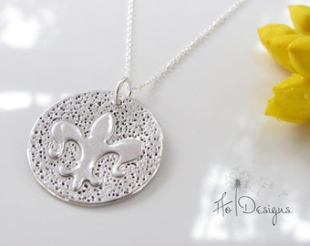 Fleur De Lis Necklace - Hand Made from Fine Silver - NOLA - Made To Order