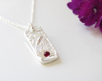 Rectangle Drop Pendant - Cattail Design - Hand Made from Fine Silver with a Dark Red Lab Ruby on a Sterling Chain
