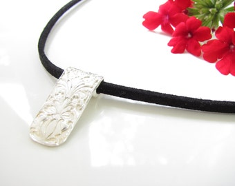 Rectangle Slider Pendant - Elegant Design- Hand Made from Fine Silver on a Suede Cord