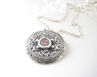 Floral Filigree Necklace - Hand Made from Fine Silver with Sterling and Pink Sapphire CZ