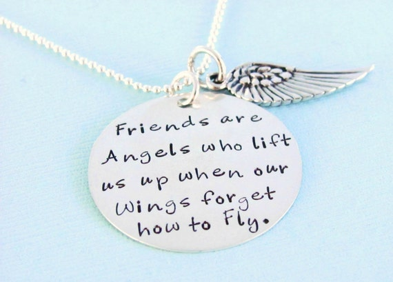 Friends are Angels - Hand Stamped, Sterling Silver Necklace