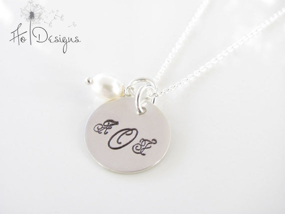 Monogrammed Personalized Necklace, Hand Stamped, Sterling Silver and Fresh Water Pearl Necklace - Monogram Necklace