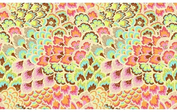 Fat Quarter  Amy Butler Soul Blossoms Collection Peacock Feathers Blush