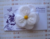 Store Closing Coupon Code 35 percent White Felt Flower Clip