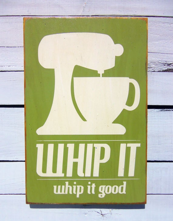 Kitchen Art Wall Decor Whip It in Olive Green by 13pumpkins