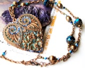 Romantic Intaglio's heart necklace - Copper an teal blue- Spring trend 2012- Mother'sday