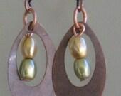 Copper and Swarovski Pearl Earrings