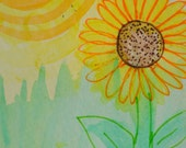 Summer Sunflower ACEO Simple Fun Original ATC Mini Art Card OOAK