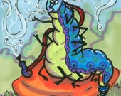 Caterpillar ACEO Print Alice in Wonderland ATC Mini Art Card Hookah Smoking Blue