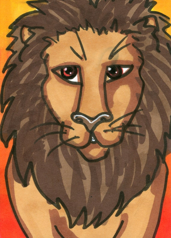 Lion ACEO Animal Jungle King Stylized Cartoon Mini Art Card Original OOAK ATC