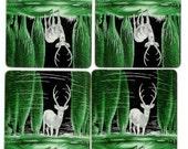 Deer-Reflecting Pool Vintage Deco Playing Cards
