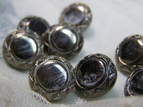 Lot 10 Vintage China-Milkglass Silver Luster Buttons
