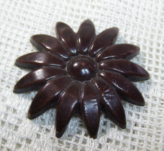 Vintage Giant Daisy-Sunflower Button-Chocolate Brown