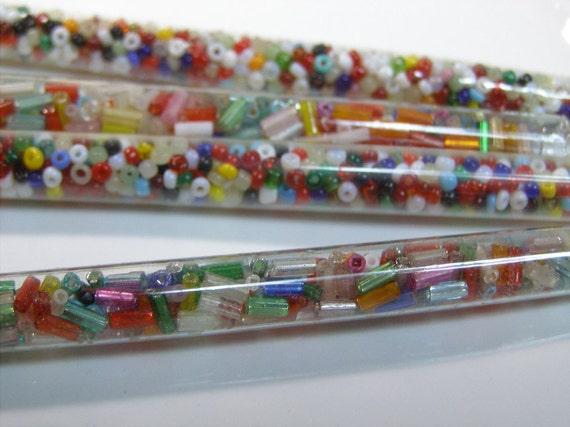 4 Tubes Vintage Glass Beads-Tubular Bugles-Rondelles Multi-Colors