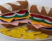 Submarine Sandwich and Chips Set Eco Felt Play Food