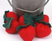 Freshly Picked Strawberries Set of 3 Eco Felt Play Food